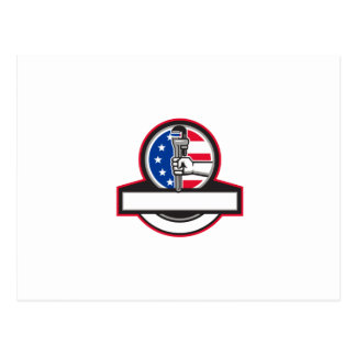 Plumber Hand Holding Pipe Wrench Flag Circle Banne Postcard