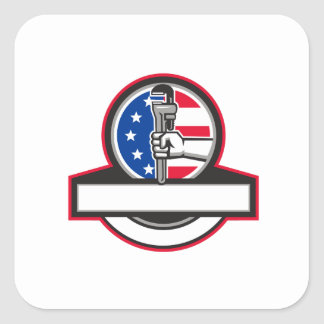 Plumber Hand Holding Pipe Wrench Flag Circle Banne Square Sticker