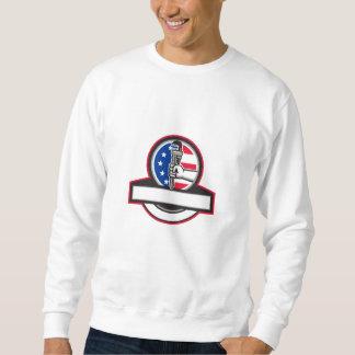 Plumber Hand Holding Pipe Wrench Flag Circle Banne Sweatshirt