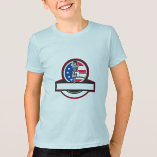 Plumber Hand Holding Pipe Wrench Flag Circle Banne T-Shirt