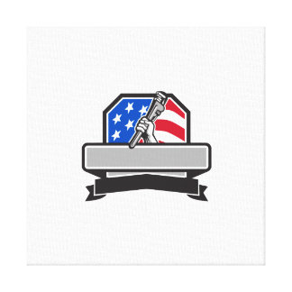 Plumber Hand Holding Pipe Wrench USA Flag Crest Re Canvas Print