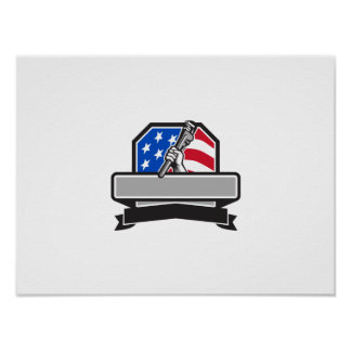 Plumber Hand Holding Pipe Wrench USA Flag Crest Re Poster
