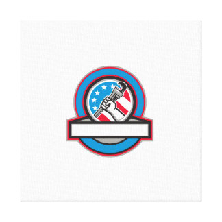 Plumber Hand Pipe Wrench USA Flag Circle Canvas Print