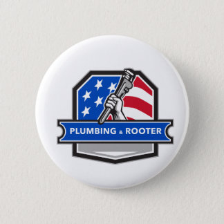 Plumber Hand Pipe Wrench USA Flag Crest Retro Button
