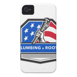 Plumber Hand Pipe Wrench USA Flag Crest Retro iPhone 4 Case