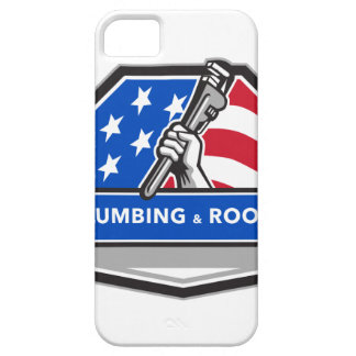 Plumber Hand Pipe Wrench USA Flag Crest Retro iPhone SE/5/5s Case