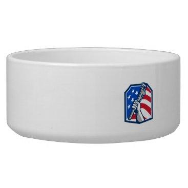 USA Themed Plumber Hand Pipe Wrench USA Flag Retro Bowl