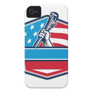 Plumber Hand Pipe Wrench USA Flag Shield Retro iPhone 4 Cover