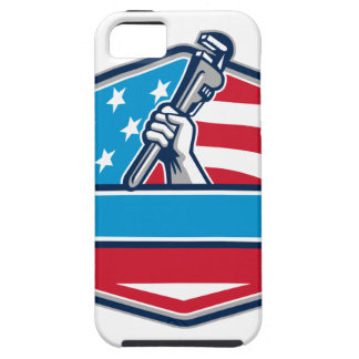 Plumber Hand Pipe Wrench USA Flag Shield Retro iPhone SE/5/5s Case