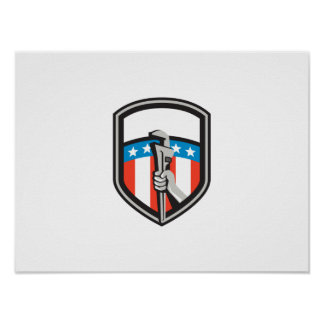 Plumber Hand Pipe Wrench USA Flag Shield Retro Poster