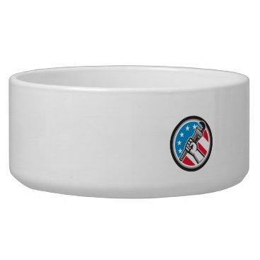 USA Themed Plumber Hand Pipe Wrench USA Flag Side Angled Circ Bowl