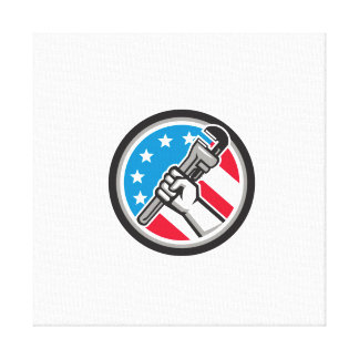 Plumber Hand Pipe Wrench USA Flag Side Angled Circ Canvas Print