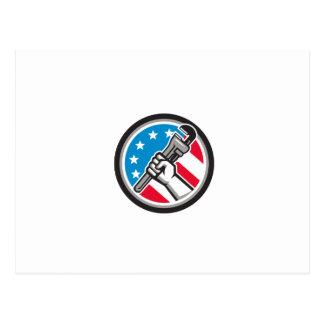 Plumber Hand Pipe Wrench USA Flag Side Angled Circ Postcard