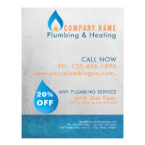 Plumber heated water drop logo flyer