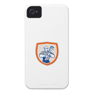 Plumber Holding Giant Monkey Wrench Shield iPhone 4 Cases