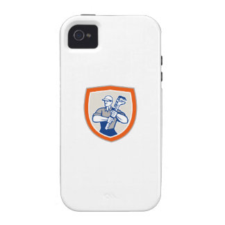 Plumber Holding Giant Monkey Wrench Shield Case-Mate iPhone 4 Cases