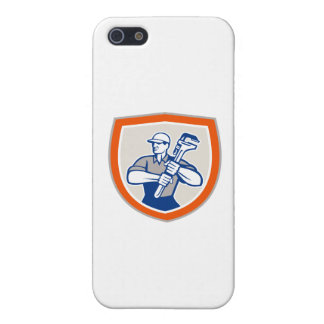 Plumber Holding Giant Monkey Wrench Shield Case For The iPhone 5
