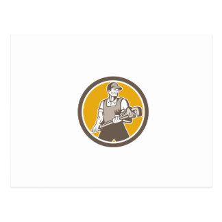 Plumber Holding Giant Wrench Retro Circle Postcard