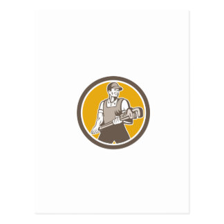 Plumber Holding Giant Wrench Retro Circle Post Cards