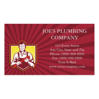 Plumber Holding Monkey Wrench Pack Of Standard Business Cards