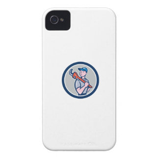 Plumber Holding Monkey Wrench Circle Cartoon iPhone 4 Covers