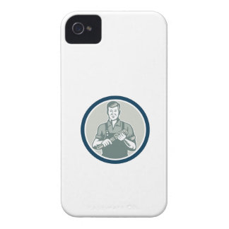 Plumber Holding Monkey Wrench Circle Retro Case-Mate iPhone 4 Case