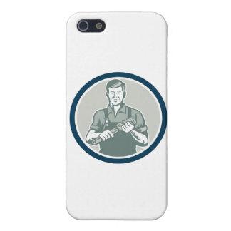 Plumber Holding Monkey Wrench Circle Retro iPhone 5/5S Cases