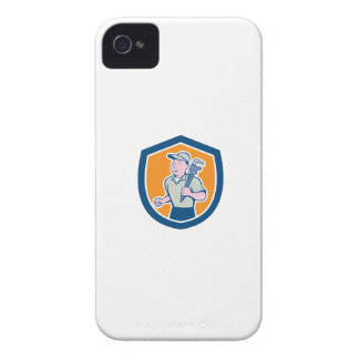Plumber Holding Monkey Wrench Shield Cartoon Case-Mate iPhone 4 Case