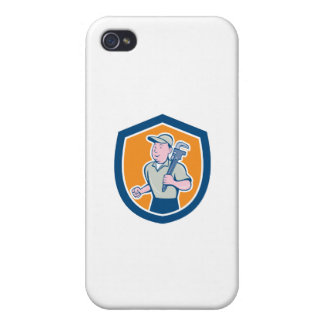 Plumber Holding Monkey Wrench Shield Cartoon iPhone 4/4S Cover