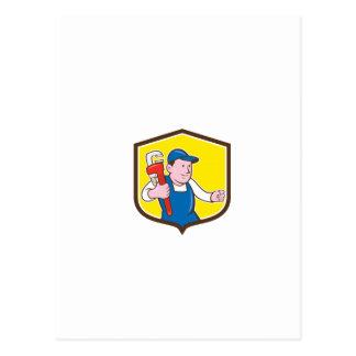 Plumber Holding Monkey Wrench Shield Cartoon Postcards
