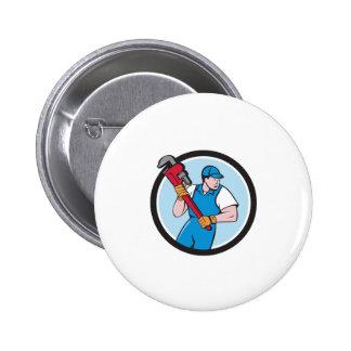 Plumber Holding Pipe Wrench Circle Cartoon Pinback Button