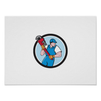 Plumber Holding Pipe Wrench Circle Cartoon Poster