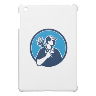 Plumber Holding Pipe Wrench Circle Retro iPad Mini Covers