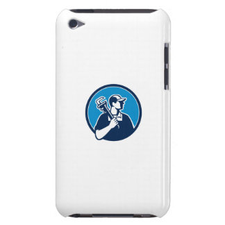Plumber Holding Pipe Wrench Circle Retro iPod Touch Case