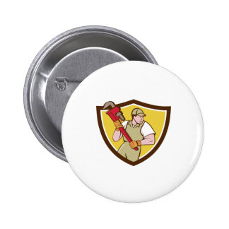 Plumber Holding Pipe Wrench Crest Cartoon Button