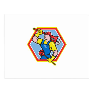 Plumber Holding Plunger Wrench Cartoon Postcards