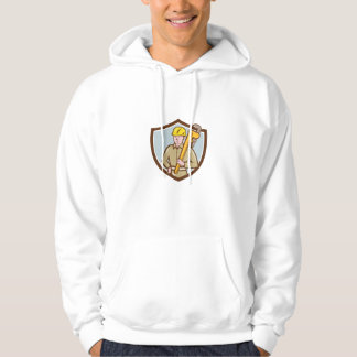 Plumber Holding Wrench Crest Cartoon Hoodie