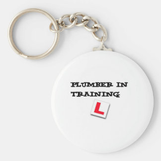 plumber in training basic round button keychain