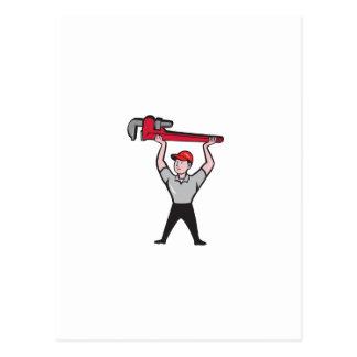 Plumber Lifting Monkey Wrench Cartoon Postcard