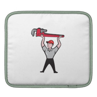 Plumber Lifting Monkey Wrench Cartoon Sleeves For iPads