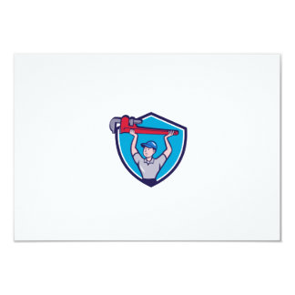 Plumber Lifting Monkey Wrench Crest Cartoon Card