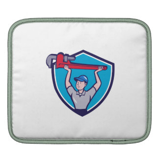 Plumber Lifting Monkey Wrench Crest Cartoon Sleeves For iPads