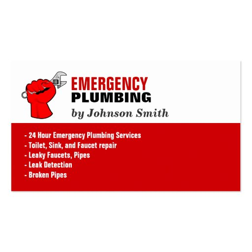 Plumber - Local Emergency Plumbing Services Business Card Templates (back side)