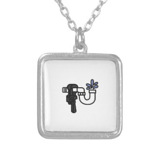 Plumber Logo Silver Plated Necklace