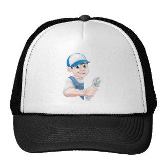 Plumber Mechanic Cartoon Man Trucker Hat