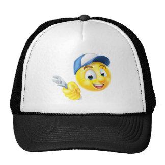 Plumber Mechanic Emoticon Emoji with Spanner Trucker Hat