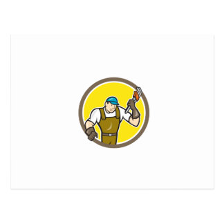 Plumber Monkey Wrench Circle Cartoon Post Cards