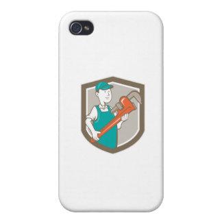 Plumber Monkey Wrench Shield Cartoon iPhone 4/4S Case