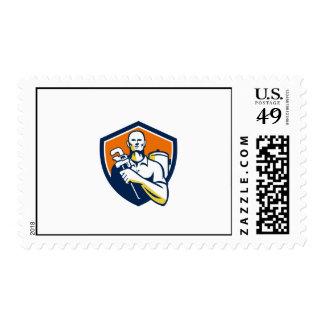 Plumber Monkey Wrench Shield Retro Stamp