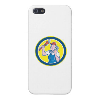 Plumber Monkey Wrench Telephone Circle Cartoon Case For The iPhone 5